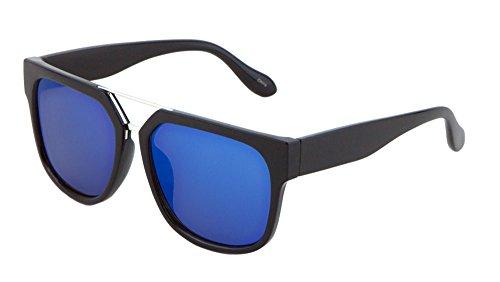 XLarge Flat Top Classic Sunglasses Flat Lens Double Metal Bridge Unisex, 57mm (Black/Silver/Blue, 57)]()