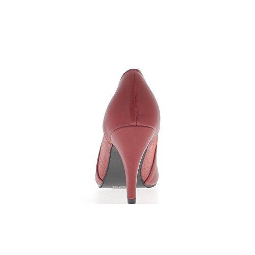 Escarpins femme grande taille rouges ouverts dentelle à talon de 9,5cm