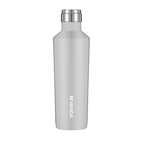 Bevanda 16oz Water Bottle Vacuum Insulated Double Wall Shatterproof Stainless Steel Travel Thermos Mug With Narrow Mouth Design| Great For Coffee, Camping & All Sports | Leak-proof - Pewter ()