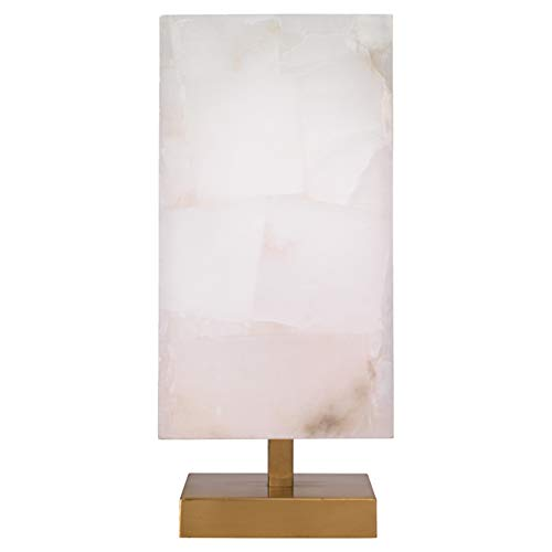 Kathy Kuo Home Hunter Modern Classic Alabaster Shade Brass Metal Base Table Lamp
