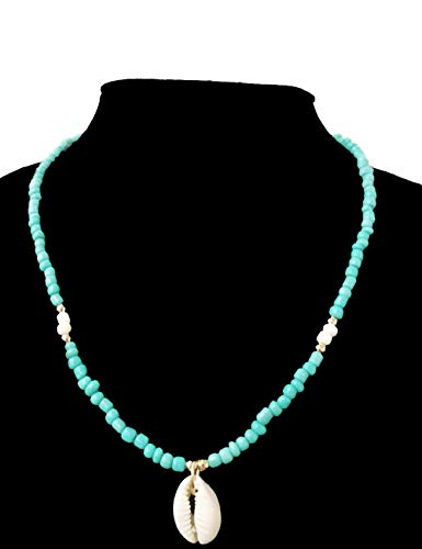 SL SweetLove Bohemian Tiny Turquoise Beads Necklace Natural Shell Pendant Necklace for Summer Beach ()
