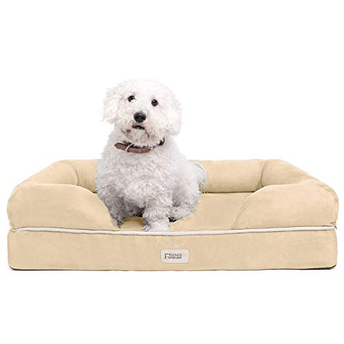 "Friends Forever Orthopedic Dog Bed Lounge Sofa Removable Cover 100% Suede 2.5"" Mattress Memory-Foam Premium Prestige Edition 20"" X 25"" X 5"" Vanilla Small"