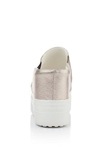 Amoonyfashion Donna Pull On Open Toe Tacchi Alti Materiali Materiali Sandali Solidi Oro