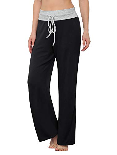 LONGYUAN Women's Comfy Pajama Pants Casual Stretch Pant Drawstring Palazzo Lounge Pants Wide Leg for All Seasons