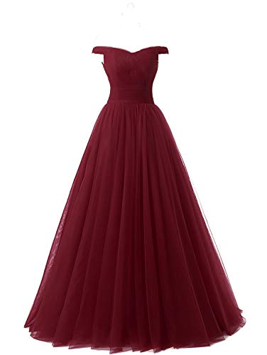 Nina A-line Tulle Prom Formal Evening Dress Ball Burgundy 6