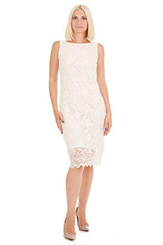- Tiana B Women's Sleeveless Floral Scallop Lace Dress Ivory 6