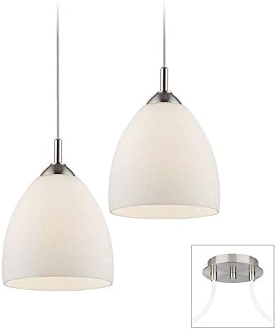 Brushed Steel Finish with White Opal Glass 1 Light Indoor Pendant