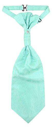 Vesuvio Napoli PreTied ASCOT Paisley TURQUOISE GREEN Color Cravat Men's Neck -