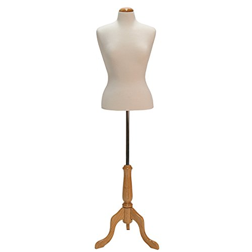 KC Store Fixtures 26104 Woman's Blouse Form Size 8, Cream Jersey Fabric with Natural Wood Dome Neck Block, Includes Tripod Base by KC Store Fixtures