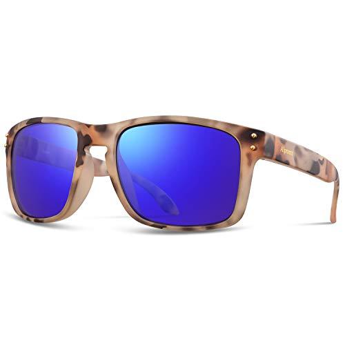 (Alpment HD Polarized Sunglasses for Men Women Lightweight, Vintage Matte Tortoise Frame UV400 Sunglasses 55mm Lens Dark Blue Mirrored,Gift Case)