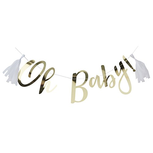 - Ginger Ray Gold Foiled Oh Baby! Baby Shower Decoration Bunting - 1.5 Metre