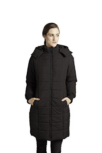 Modern Eternity Womens Long Quilted Maternity Small Black