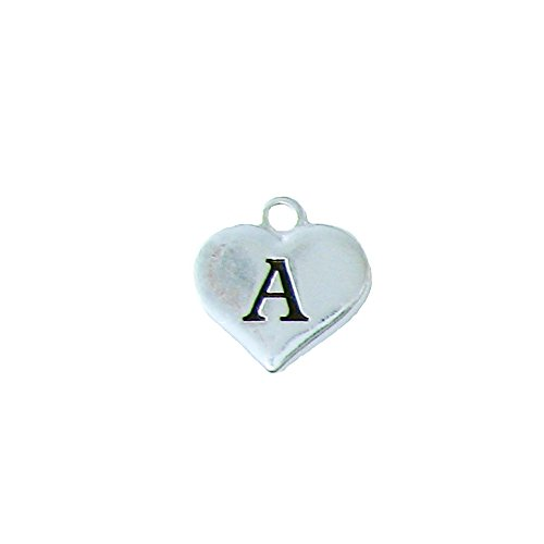 Custom Initial Silver Heart Charms To Add To Any Jewelry Item All 26 Letters (A) - Initial Heart Charm Letter
