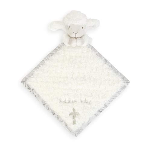 DEMDACO God Bless Baby Lamb Cozie Fuzzy White 13 inch Plush Fabric Toddler Blanket