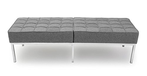 Kardiel Florence Knoll Style Bench 3 Seater, Cadet Grey Cashmere (Knoll Lounge)
