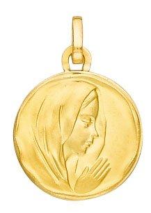 Diamantly - Médaille Ronde Vierge Profil Droit - or 375/1000 (9 Carats) - Unisex - Enfant -Bebe-Adulte