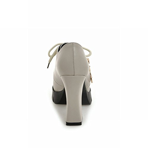MissSaSa Damen high heel Schnürsenkel Leder-Pumps Grau