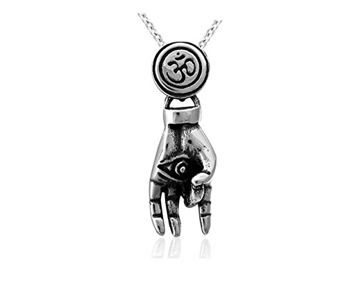 (LiFashion LF Vintage Mens 316L Stainless Steel OM Hindu Yoga Hamsa Hand Evil Eye Charm Pendant Amulet Jewelry Pewter for Husband Boyfriend Dad Son)