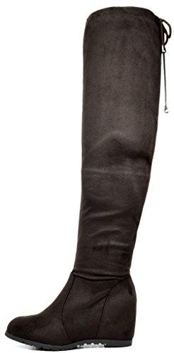 TRAUM-PAAR-Frauen Overknee-Schenkel-hohe Ausdehnungs-Aufladungen Braun
