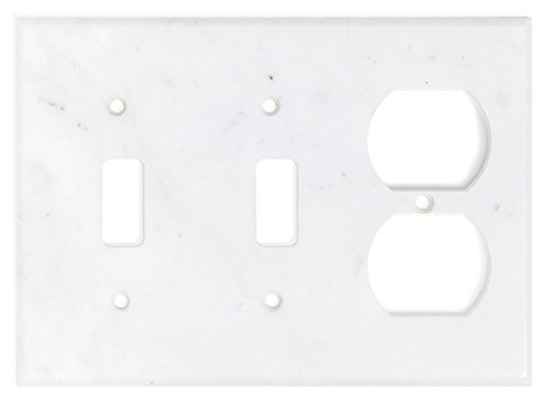 Italian Carrara White Marble Switch Plate Cover, Polished (DOUBLE TOGGLE ()