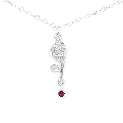 (January Flower Carnation Necklace with Birthstone Colored Crystal - Gift Packaged - Handcrafted Pewter Made in USA)