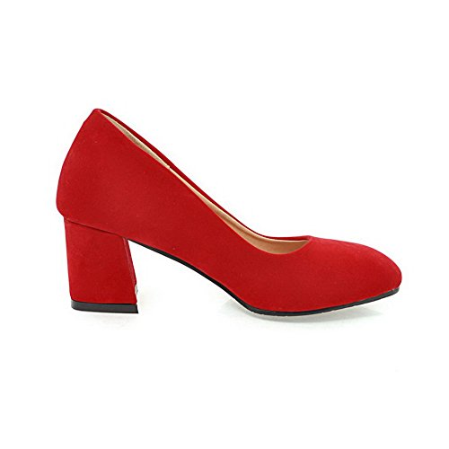 Allhqfashion Kvinners Frostet Kattunge Hæler Runde Tå Solid Pull-on Red  Pumps-sko ...