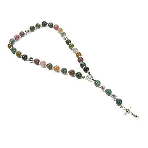 BALIBALI Handmade 8mm Anglican Prayer Beads Rosary Jade Natural Stone Rosary Beads with Pardon Crucifix Cross Custom Rosary (Silver(India Agate))