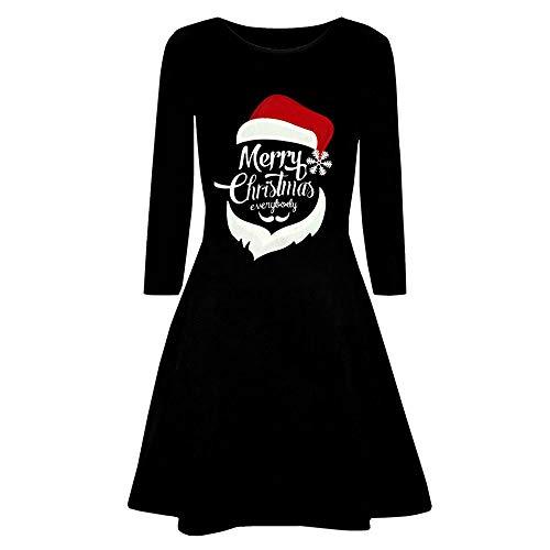 iLUGU Boho Knee-Length Dress for Women Long Sleeve O-Neck Christmas Deer Letter Print Evening Prom Costume Gown