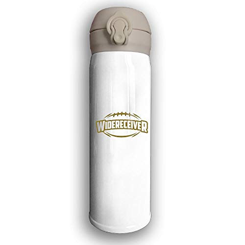 Covers Halfback (Adhone Designed American Football Stainless Water Bottle, Sports Drinking Bottle/Travel Coffee Mug, Leak-Proof Vaccum Cup, with Bounce Cover,White)
