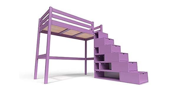 ABC MEUBLES - Cama Alta Sylvia con Escalera Cubo - Cube - Lila, 90x200: Amazon.es: Hogar