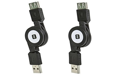 eDragon 2 Pack USB 2.0 Retractable Cable A Male to A Female 2.5 Feet