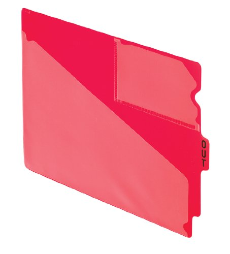 Pendaflex 13541 End Tab Vinyl Outguides w/Center Tab Printed Out, Letter Size, Red, ()