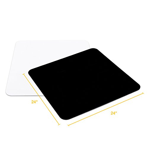 LS Photography 24 Inch Jet Black and White Acrylic Reflective Display Table, Background Product Board for Table Top Shooting, LGG752 by LS Photography
