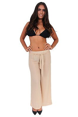 SHORE TRENDZ Women's Crinkle Pants Beach Cover Up w/Drawstring TAUPE (Crinkle Cover Up)