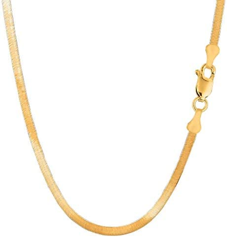 14k Solid Yellow Gold 4.00mm Shiny Imperial Herringbone Chain Necklace or Bracelet for Pendants and Charms with Lobster-Claw Clasp (7″, 8″, 16″, 18″ 20″ or 24 inch)