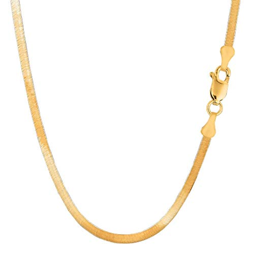 14K Yellow Gold 3.00mm Shiny Imperial Herringbone Chain Necklace or Bracelet Bangle or Foot Anklet for Pendants and Charms with Lobster-Claw Clasp (7