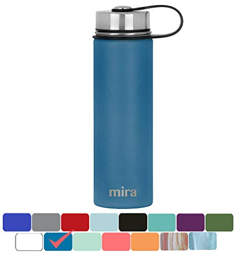 Klean Tea - MIRA 22 Oz Stainless Steel Vacuum Insulated Wide Mouth Water Bottle   Thermos Keeps Cold for 24 hours, Hot for 12 hours   Double Wall Powder Coated Travel Flask   Hawaiian Blue