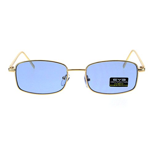 Mens Hippie Pimp Pop Color Lens Metal Gold Frame Rectangular Sunglasses (Male Hippie)