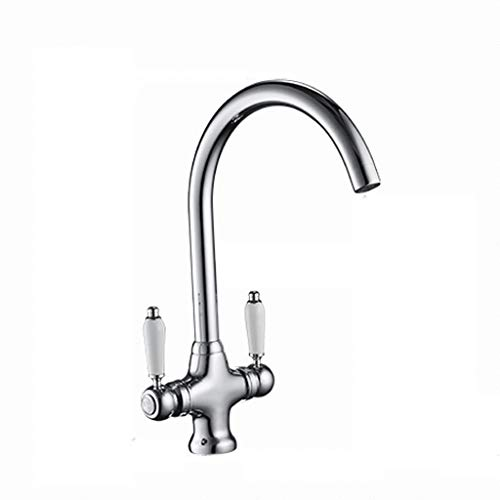 JFFFFWI Simple Faucet Copper Hot and Cold Double Handle Single Hole Rotatable Kitchen Dishwashing Sink Mixing Valve Aperture 32MM to 40MM Can Be Installed Liuyu.