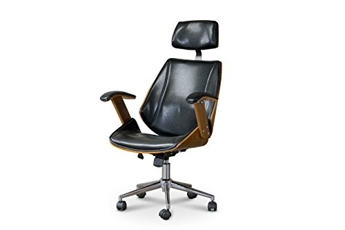 Baxton Studio SDM-2378-1 Walnut/Black-OC Hamilton Office Chair, 22Lx26Wx44.25H,