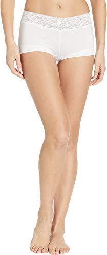 Maidenform Women's Dream Cotton with Lace Boy Short, White, 2X/9