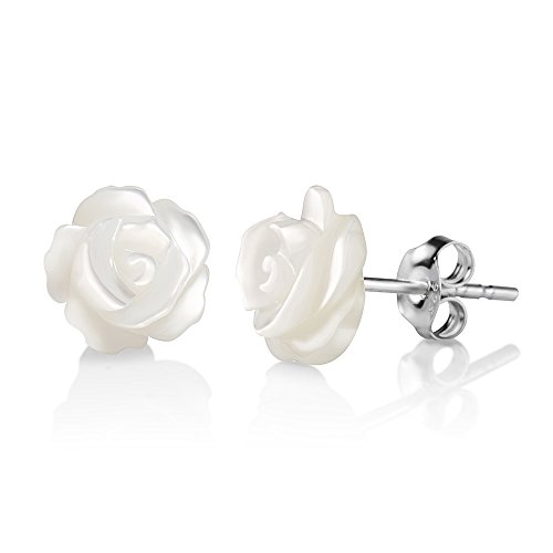 - 925 Sterling Silver White Mother of Pearl Rose Flower 9 mm Post Stud Earrings