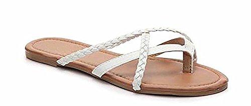 Price comparison product image Girls Club Kids ALVA Basic Criss Cross Strappy Sandal Flat,  White,  10