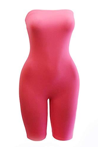 Women's Biker Short Pant Tube Jumpsuit One Piece Short Romper (Neon Pink, Medium) (One Piece Tube)