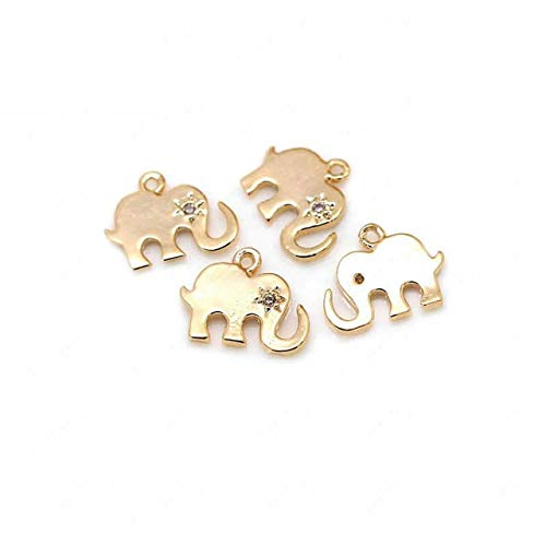 4Pcs 8X10.5Mm 24K Champagne Gold Color Plated Brass with Zircon Elephant Charms Pendants Handmade DIY Craft Jewelry Accessories