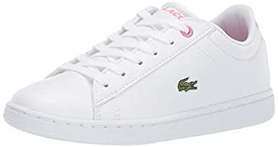 Lacoste Girls' Carnaby EVO Sneaker, White/Pink, 12. Medium US Little Kid