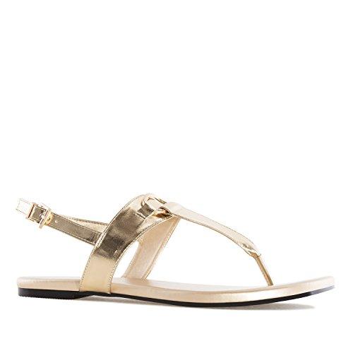 Andres Machado AM5237.Sandales T-Bar en Soft .pour Femmes.Grandes Pointures 42/45 Or