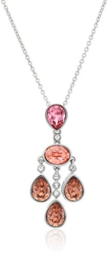 Rose Swarovski Crystal Silver Plated - Platinum Plated Sterling Silver Swarovski Crystal Rose Peach Pendant Necklace
