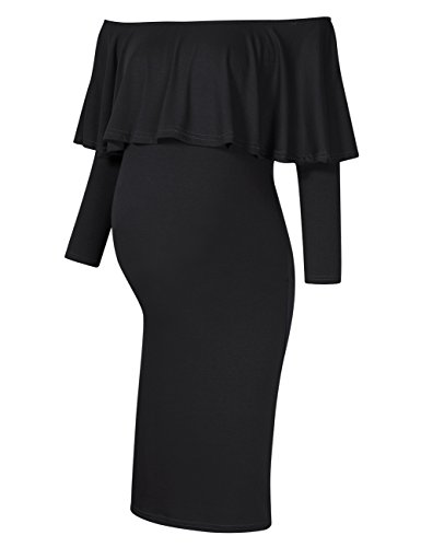 Coolmee Women's Maternity Dress 3/4 Sleeve Off Shoulder Casual Maxi Dress (L, Black-Long)