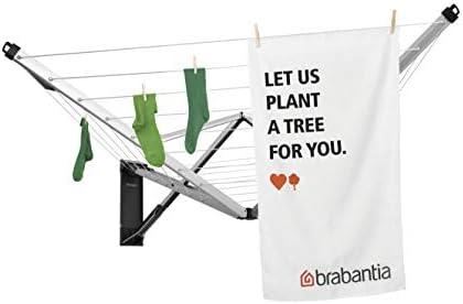 Brabantia WallFix Wall-Mounted Retractable Washing Line with Matt Steel Storage